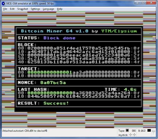 Майнинг биткоина на Commodore 64