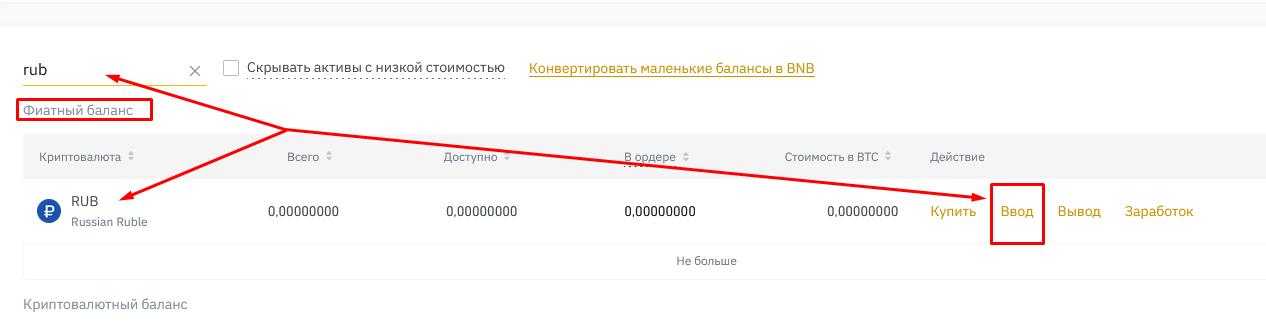 Пополнение кошелька на криптобирже Binance
